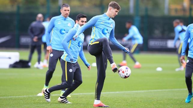 CONTROL: Defender John Stones takes the ball down