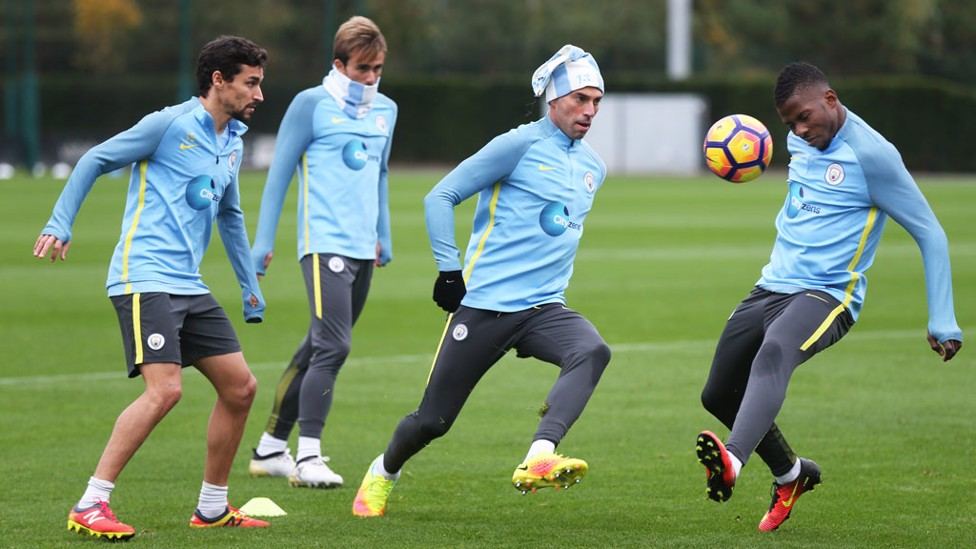 NICE HAT: Caballero makes use of his City scarf in an unorthodox way during training.