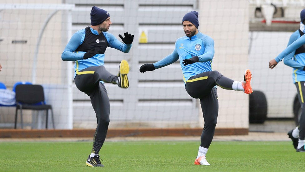 EARLY STRETCH: Zabaleta and Aguero get moving