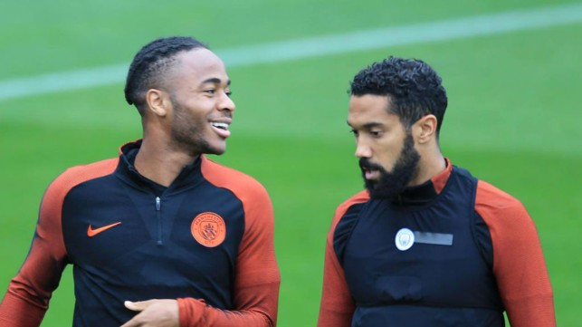 ALL SMILES: Raheem Sterling and Gael Clichy