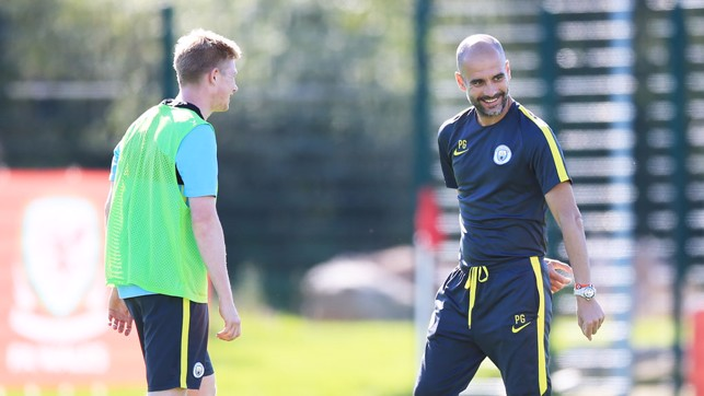 PEP AND KDB: Manager and midfielder share a joke
