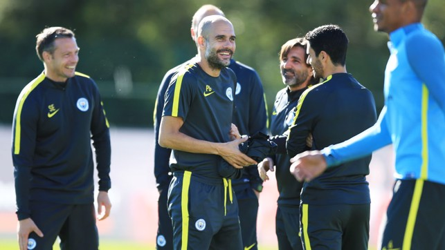 TICKLED: Guardiola joins the joke