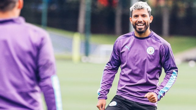 SMILE SERGIO: Our record goalscorer looks happy in his work
