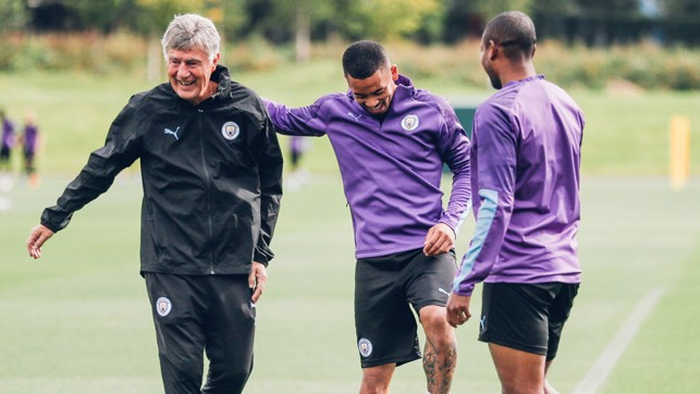 THREE CHEERS: Coach Brian Kidd shares a smile with Gabriel Jesus and Fernandinho