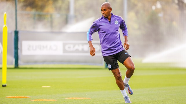 GEARING UP: Fernandinho is put through his paces