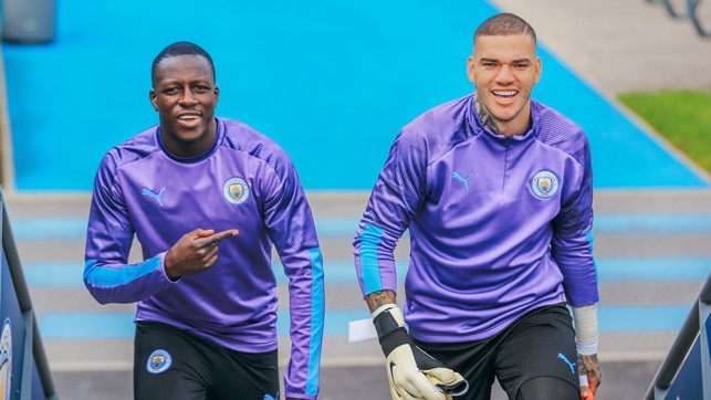 LET'S GET STARTED: Benjamin Mendy and Ederson get ready for today's session!