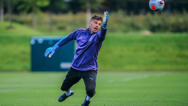 ELASTIC EDERSON: Our Brazilian goalkeeper at full stretch in training