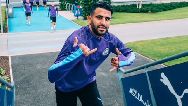GETTING STARTED: Riyad Mahrez makes his way to the pitch
