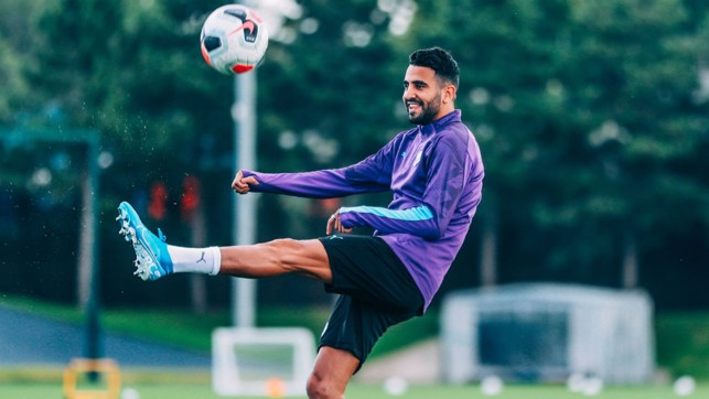 KEEPY-UPPY: Our Algerian winger gets a feel of the ball