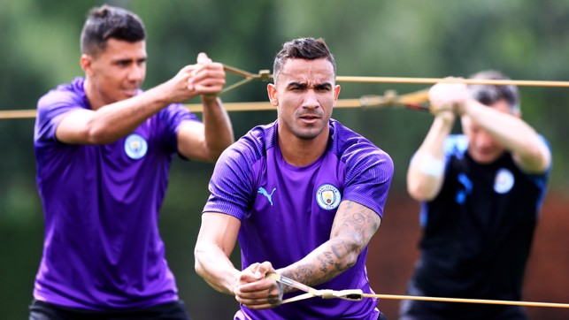 STRETCH, ARM STRONG: Danilo flexes the muscles