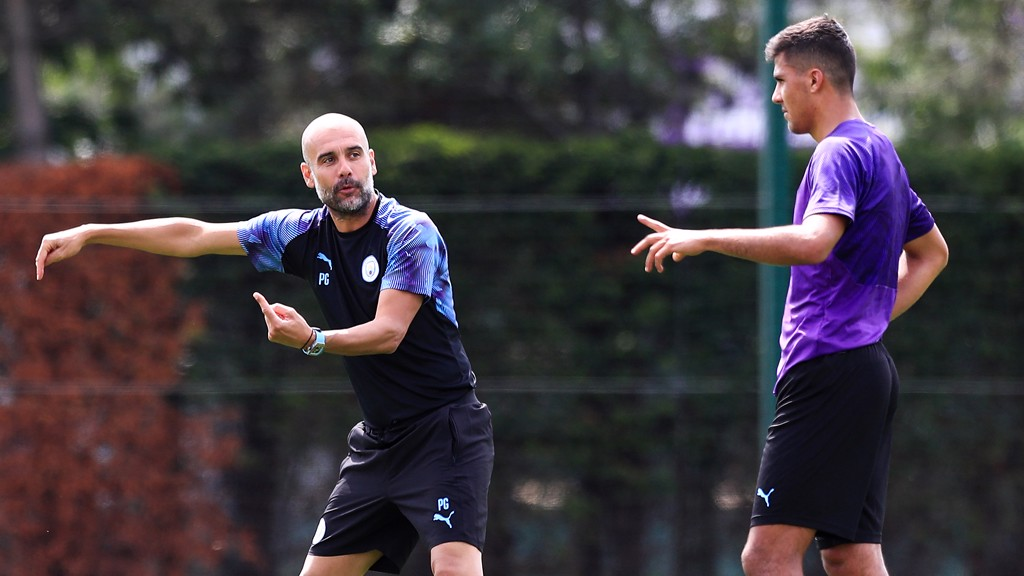 THIS WAY TO THE TOP: Immediate instructions for our new recruit from Pep Guardiola