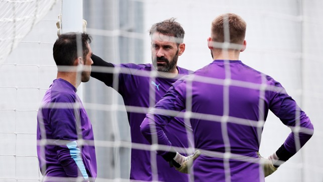 NEW BOY: Scott Carson chats with his new teammates.