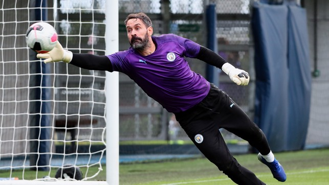 STRETCH: Scott Carson gets used to his new surroundings.