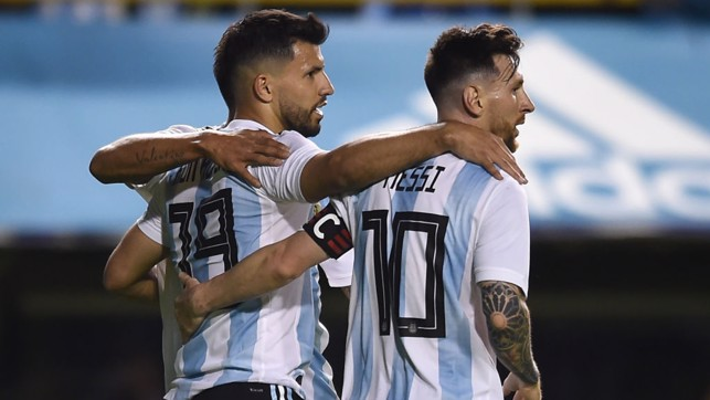 MARKSMAN: Sergio Agüero celebrates after getting on the scoresheet in Argentina's 4-0 defeat of Haiti.