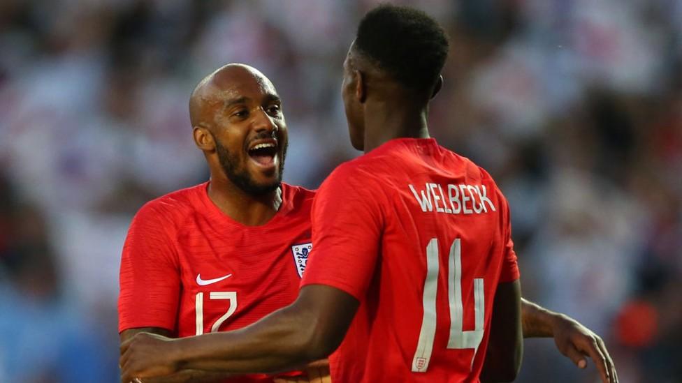 DELPHY'S DELIGHT: Fabian Delph celebrates Danny Welbeck's goal for England against Costa Rica.