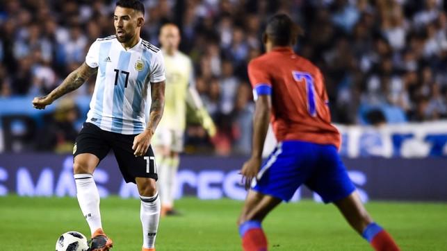 THE GENERAL: Nicolás Otamendi in possession during Argentina's game against Haiti.