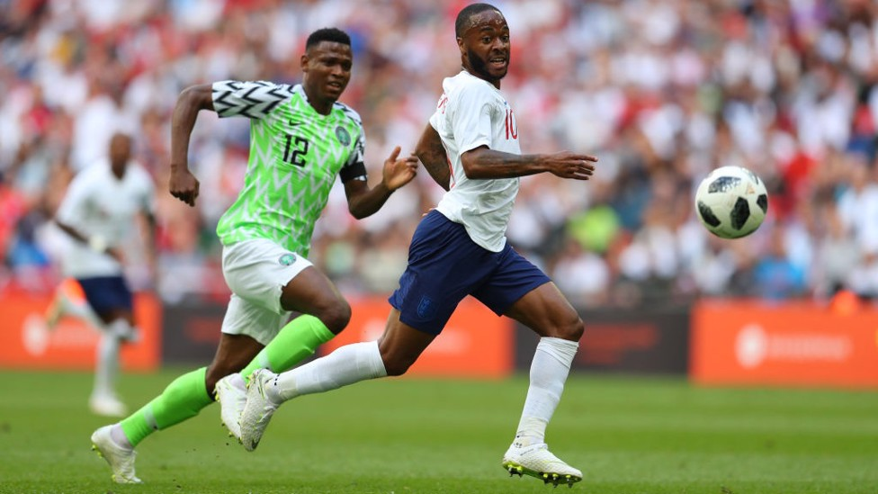 SPEEDSTER: Raheem Sterling on the break during England's clash with Ghana.