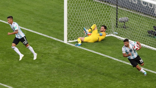 CONSOLATION: Sergio Aguero scored late in Argentina's 4-3 defeat to France