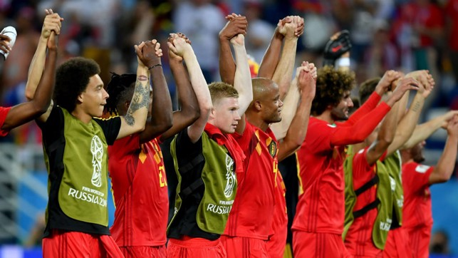 GROUP G WINNERS: Kevin De Bruyne and Vincent Kompany among the celebrating Belgium team