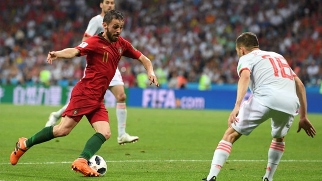 CLOSE CONTROL: Bernardo Silva in action against Spain