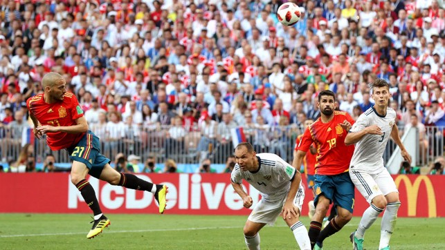SPAIN PAIN: David Silva in action against Russia - the hosts won their last-16 game on penalties