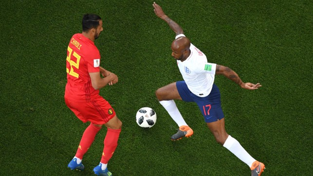 JUST FAB: Delph on the ball