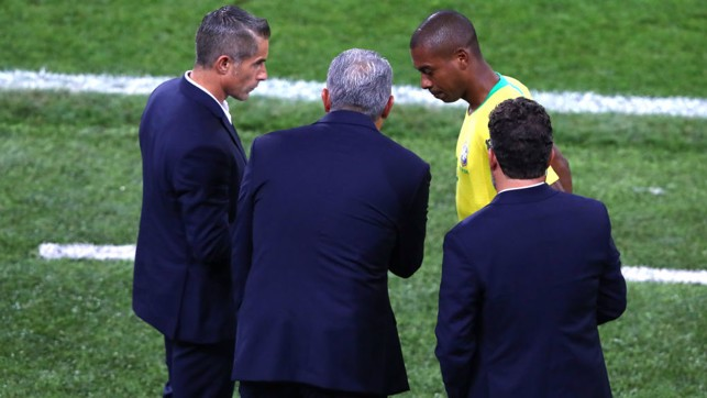 WORD OF ADVICE: Fernandinho prepares to enter the pitch during Brazil's 2-0 victory over Serbia.