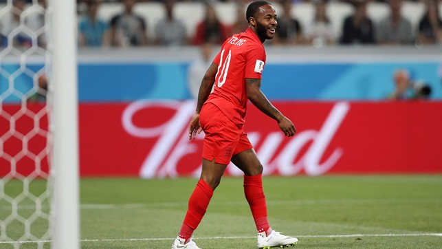 ALMOST: Raheem Sterling runs back after getting a chance on goal.