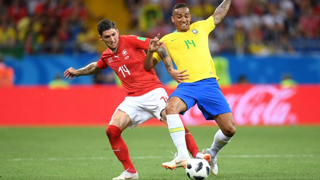 CLOSE BATTLE: Danilo in action for Brazil