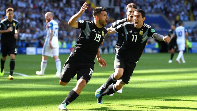 OFF AND RUNNING: Aguero celebrates, but his side was held to a 1-1 draw