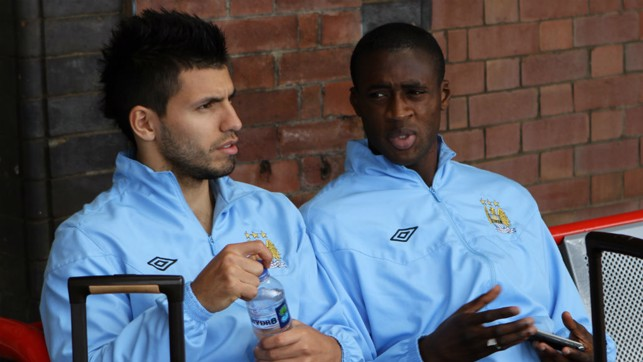 TRAINING GAME: A young Sergio Aguero with Yaya in 2011