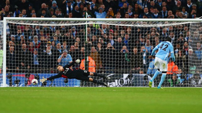 ON THE SPOT: Toure scores the winning penalty against Liverpool in the 2016 League Cup final