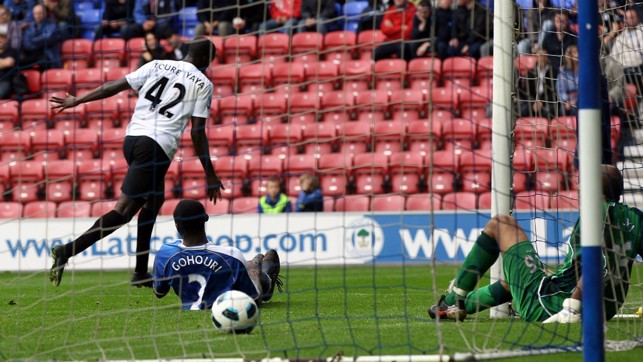 FIRST STRIKE: Toure nets his first City goal against Wigan