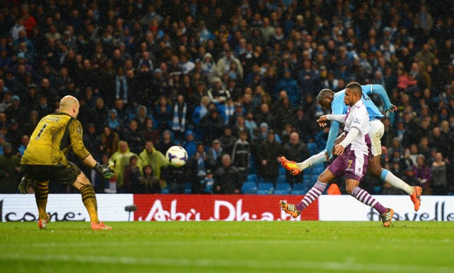 UNSTOPPABLE: Toure scoring his barnstorming goal against Aston Villa in 2014