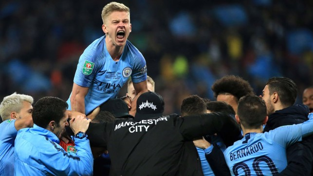 UP FOR THE CUP: Delight after another strong showing against Chelsea, as City won the 2019 Carabao Cup.