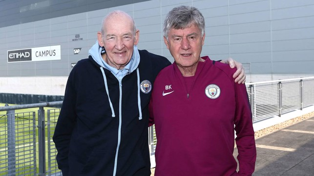 MADE IN MANCHESTER: Bernard and long-serving City assistant coach Brian Kidd - both hugely respected figures in Manchester's football family