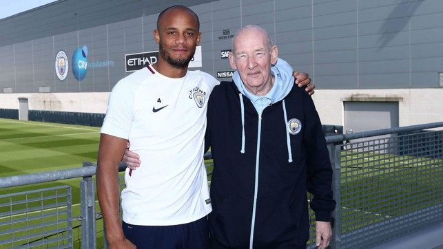 LEADING MAN: City captain Vincent Kompany was always happy to spend time with Bernard and share their collective passion for the Club