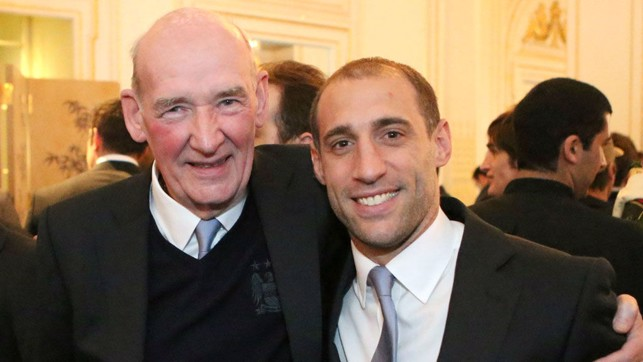 FOREVER BLUE: Bernard and former City star Pablo Zabaleta both cut quite a dash at an event to celebrate our 2012 title success