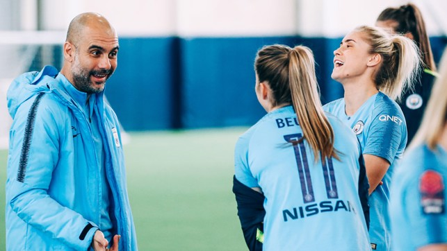 ALL SMILES: Pep shares a relaxed moment with Janine Beckie and Steph Houghton