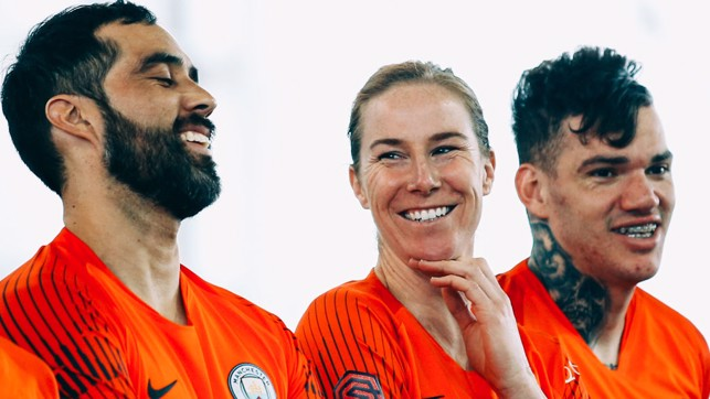 GOALKEEPERS UNION: Something has got Claudio Bravo, Karen Bardsley and Ederson smiling!