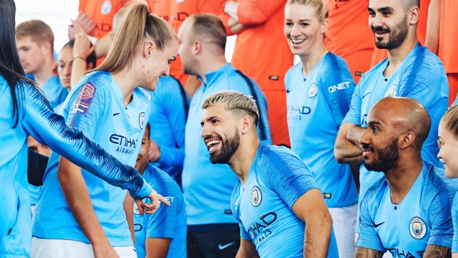 STRIKE A POSE: Georgia Stanway and Sergio Aguero take their positions