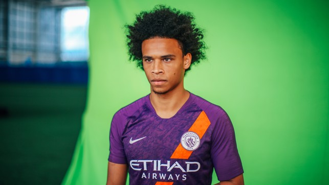 PURPLE REIGN: Leroy Sane models City's new third strip