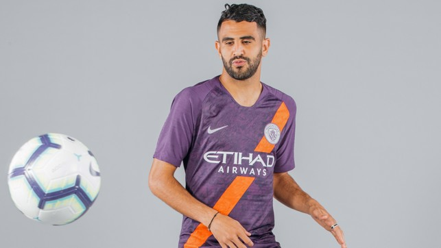 ON THE BALL: Riyad Mahrez cuts a dash in City 2018/19 third strip