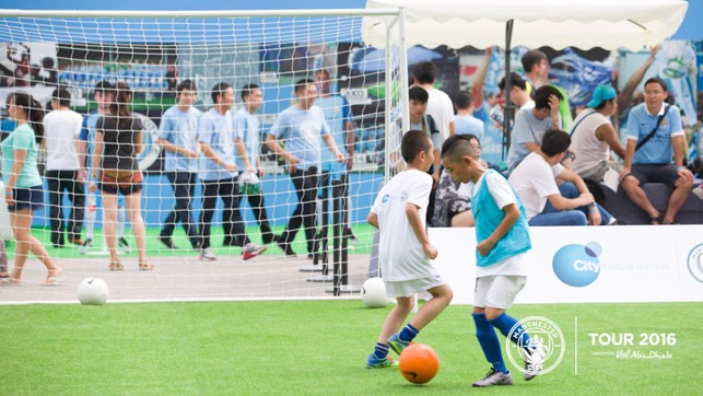 EYE ON THE BALL: Youngsters hone their skills