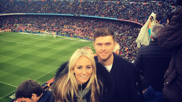 EL CLASICO: Duggan and partner visit the Camp Nou for the El Clasico fixture.