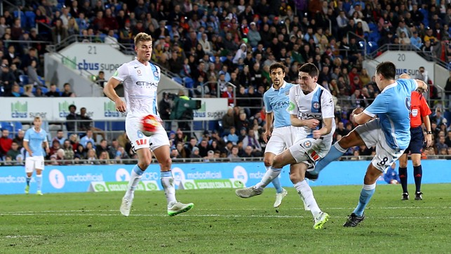 PLAY IT AGAIN, SAM: The winning goal in the historic meeting between City and Melbourne City in 2015 was worth it...