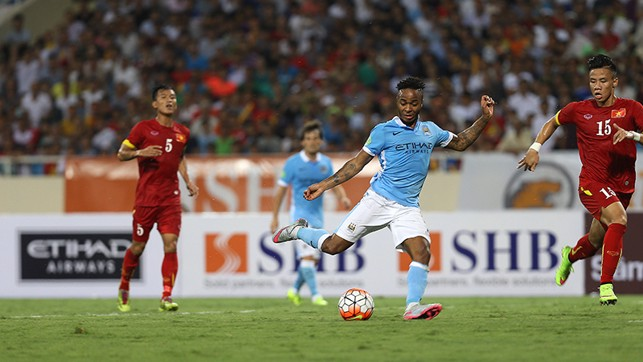 GOOD MORNING VIETNAM: Sterling played a decisive role in City's 8-1 dismantling of the Vietnamese national team last summer.