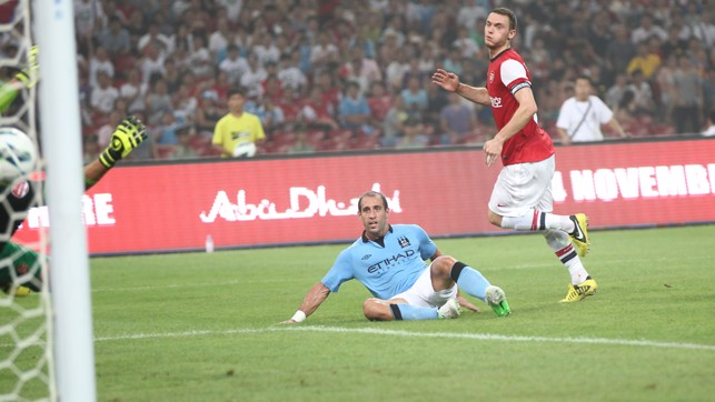 BEIJING BLUES: Pablo Zabaleta opened the scoring against Arsenal last time City played at the Bird's Nest Stadium. Same again next weekend?