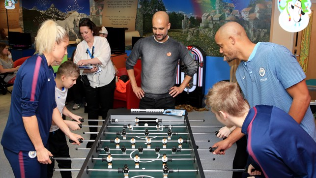 FOOSBALL: Showing off their table football skills.