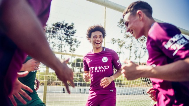 MODEL PROS: Danilo, Ederson, Sane and Foden wear the kit for the first time.
